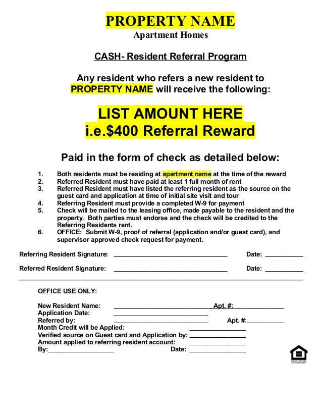 Resident Referral Form Cash