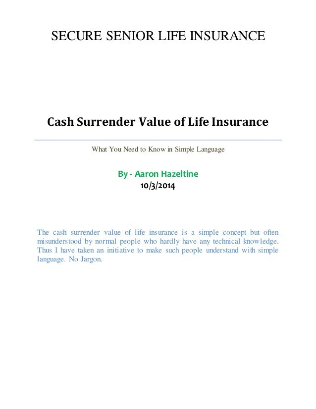 Cash Surrender Value of Life Insurance - Definition and ...