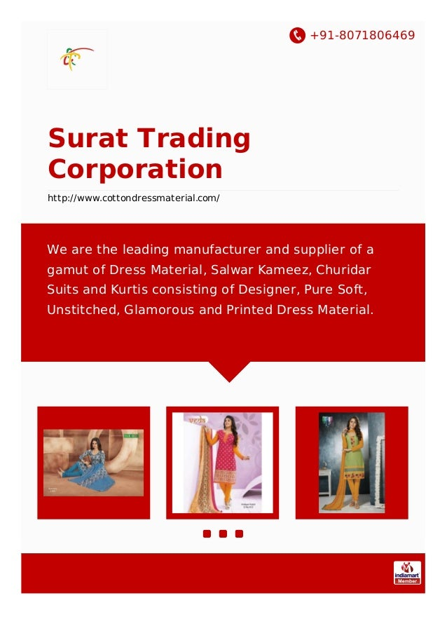 +91-8071806469 Surat Trading Corporation http://www.cottondressmaterial.com/ We are the leading manufacturer and supplier ...