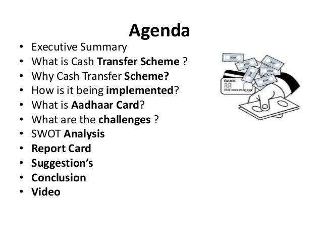 Cash transfer scheme