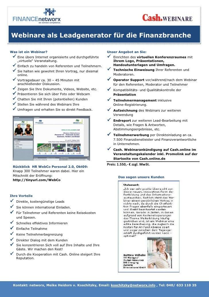 Webinare als Leadgenerator für die Finanzbranche  Was ist ein Webinar?                                       Unser Angebot...
