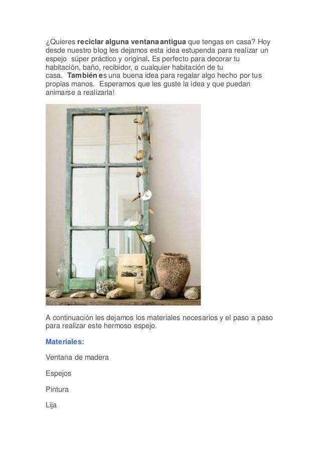 Casi 50 marcos de espejos hechos con materiales reciclados