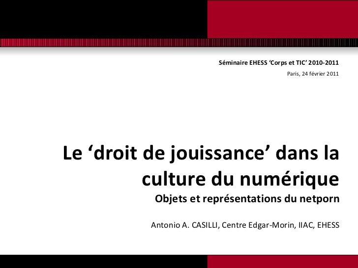 Séminaire EHESS 'Corps et TIC' 2010-2011 Paris, 24 février 2011 <ul><li>Le 'droit de jouissance' dans la culture du numéri...