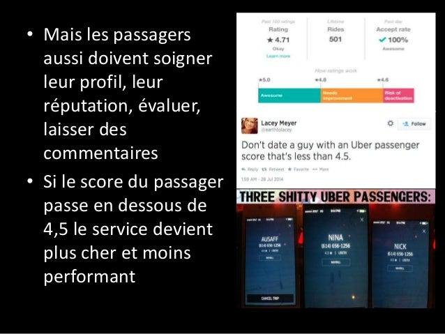 • Mais les passagers aussi doivent soigner leur profil, leur réputation, évaluer, laisser des commentaires • Si le score d...