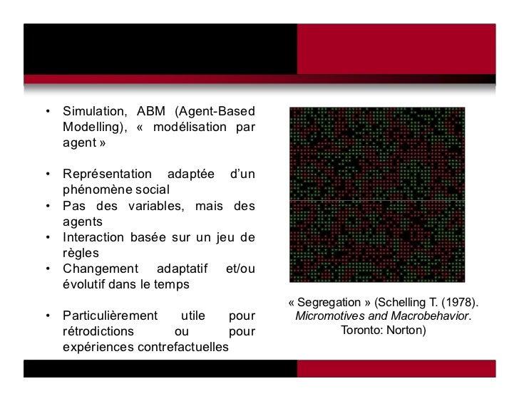 • Simulation, ABM (Agent-Based  Modelling), « modélisation par  agent »• Représentation adaptée d'un  phénomène social• Pa...