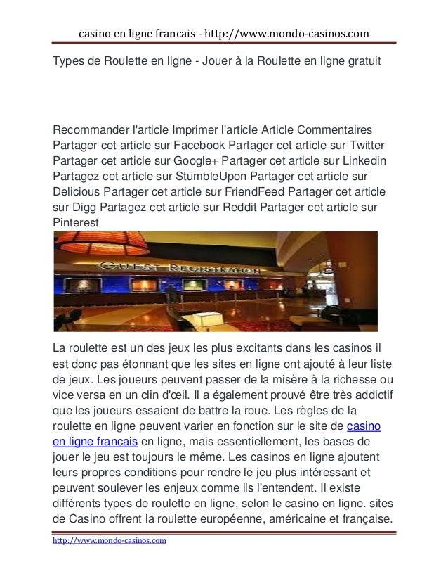 casino en ligne francais - http://www.mondo-casinos.com http://www.mondo-casinos.com Types de Roulette en ligne - Jouer à ...