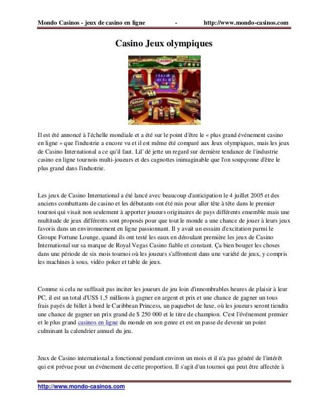 Mondo Casinos - jeux de casino en ligne - http://www.mondo-casinos.com http://www.mondo-casinos.com Casino Jeux olympiques...