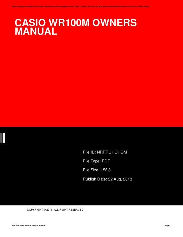 casio wr100m owners manual rh slideshare net casio edifice wr100m user manual casio marine gear wr100m user manual