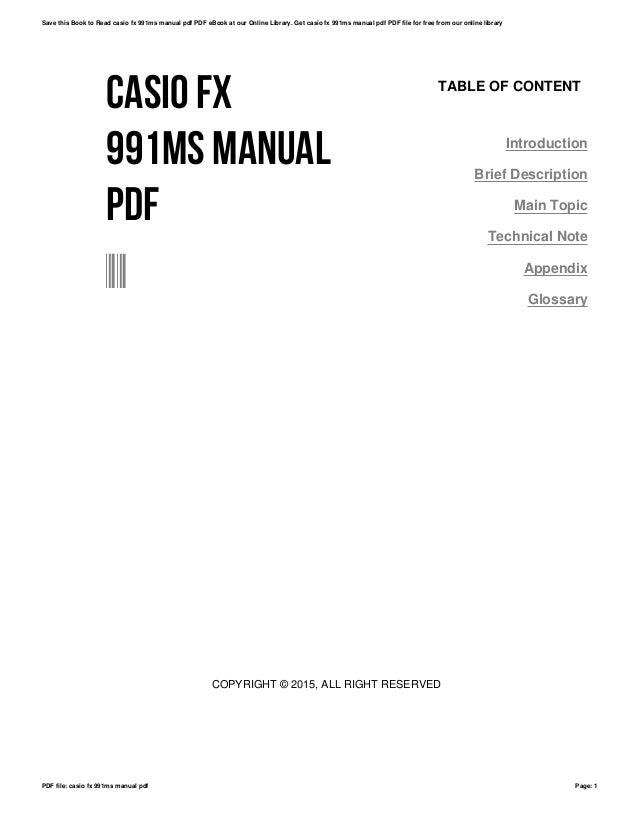 Casio fx 991ms manual pdf