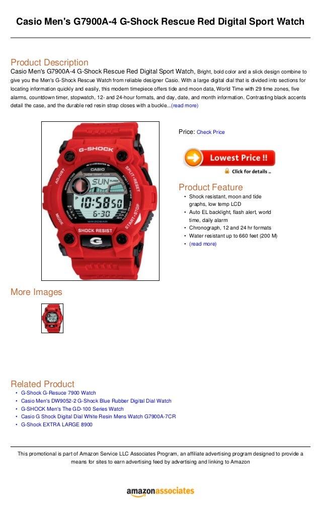 db736e6a4883 Casio men s g7900 a 4 g-shock rescue red digital sport watch