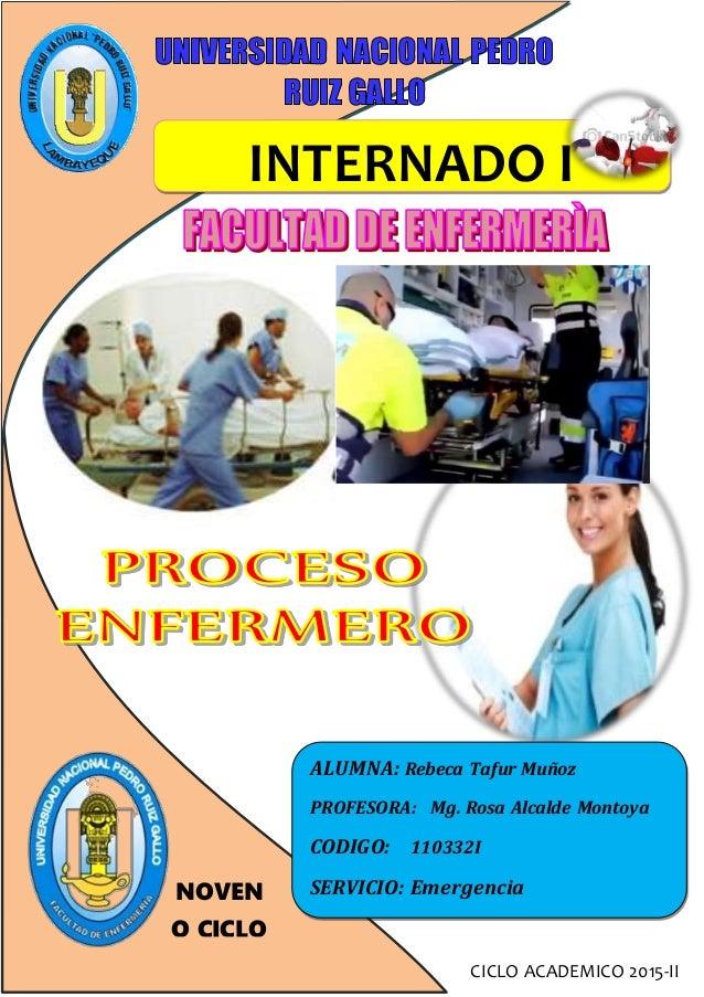 INTERNADO I CICLO ACADEMICO 2015-II ALUMNA: Rebeca Tafur Muñoz PROFESORA: Mg. Rosa Alcalde Montoya CODIGO: 110332I SERVICI...