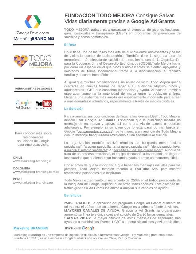 FUNDACION TODO MEJORA Consigue Salvar Vidas diariamente gracias a Google Ad Grants � Google es una marca comercial de Goog...