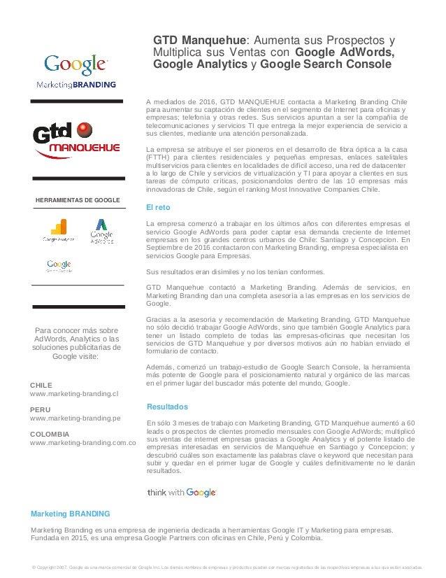 GTD Manquehue: Aumenta sus Prospectos y Multiplica sus Ventas con Google AdWords, Google Analytics y Google Search Console...