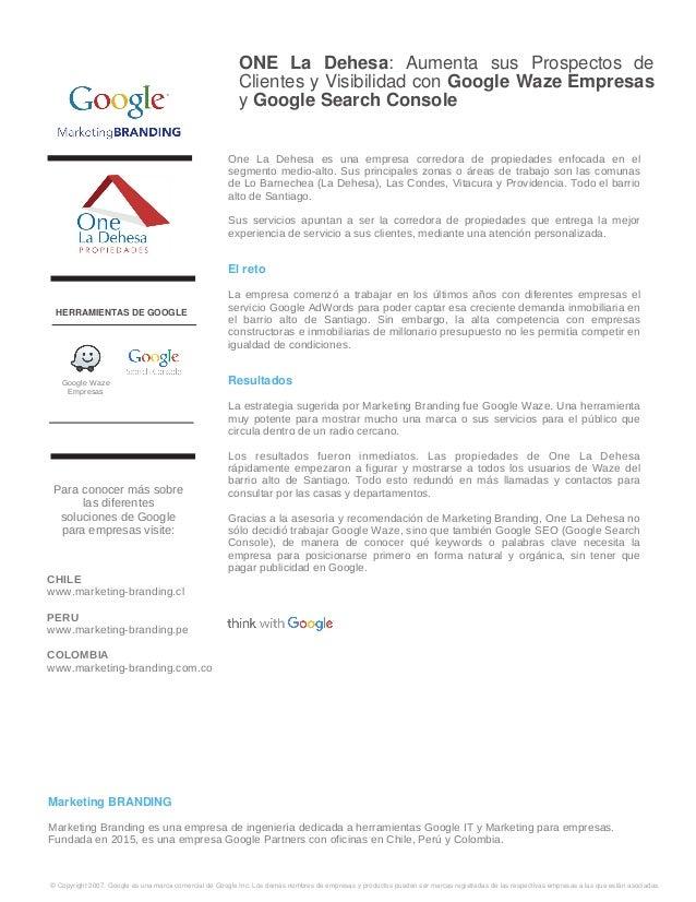 ONE La Dehesa: Aumenta sus Prospectos de Clientes y Visibilidad con Google Waze Empresas y Google Search Console One La De...