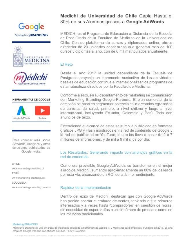 Medichi de Universidad de Chile Capta Hasta el 80% de sus Alumnos gracias a Google AdWords MEDICHI es el Programa de Educa...