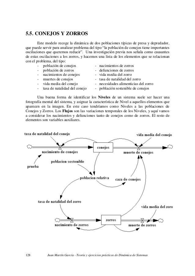 Juan Martín García - Teoría y ejercicios prácticos de Dinámica de Sistemas128 5.5. CONEJOS Y ZORROS Este modelo recoge la ...
