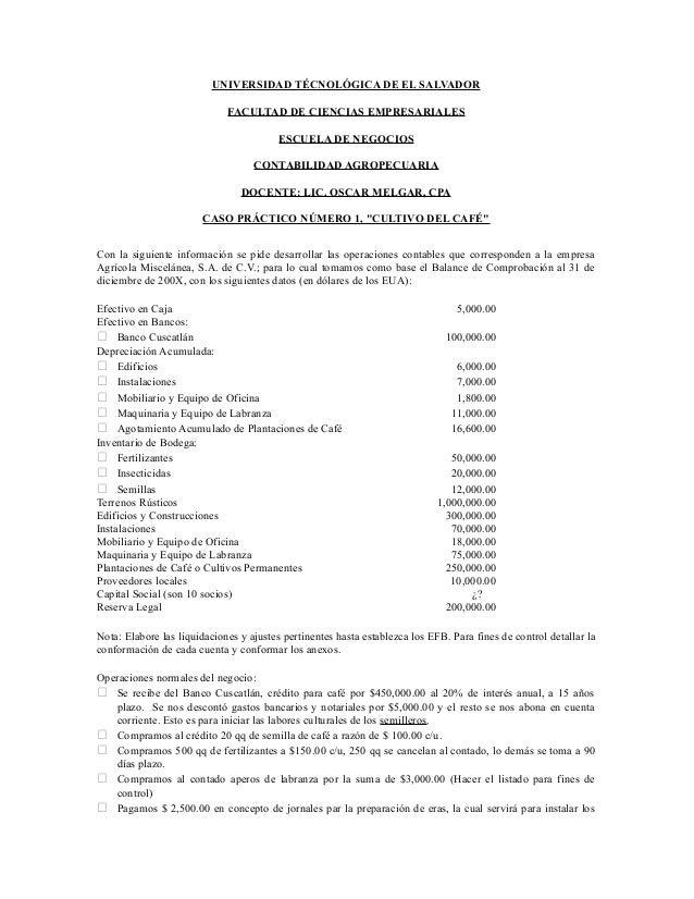 UNIVERSIDAD TÉCNOLÓGICA DE EL SALVADOR FACULTAD DE CIENCIAS EMPRESARIALES ESCUELA DE NEGOCIOS CONTABILIDAD AGROPECUARIA DO...