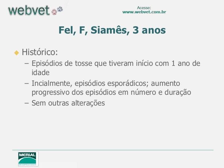 Fel, F, Siamês, 3 anos   Histórico:    – Episódios de tosse que tiveram início com 1 ano de      idade    – Incialmente, ...