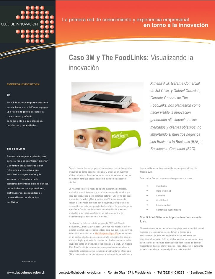 Caso 3M y The FoodLinks: Visualizando la                                         innovación EMPRESA EXPOSITORA            ...