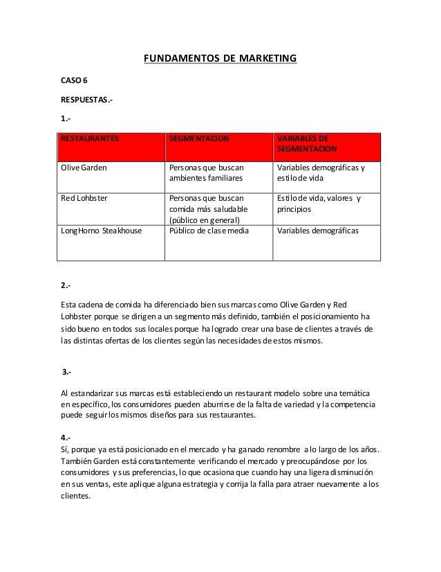 FUNDAMENTOS DE MARKETING CASO 6 RESPUESTAS.- 1.- RESTAURANTES SEGMENTACION VARIABLES DE SEGMENTACION Olive Garden Personas...