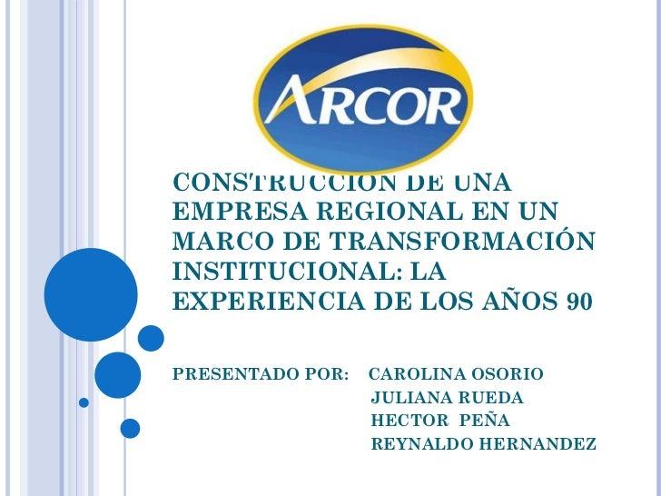 CONSTRUCCIÓN DE UNAEMPRESA REGIONAL EN UNMARCO DE TRANSFORMACIÓNINSTITUCIONAL: LAEXPERIENCIA DE LOS AÑOS 90PRESENTADO POR:...