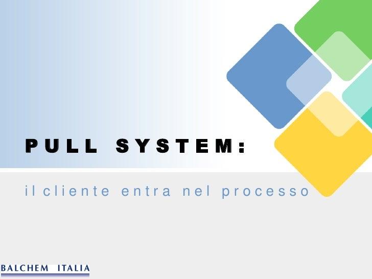 PULL     SYSTEM:  il cliente entra nel processo