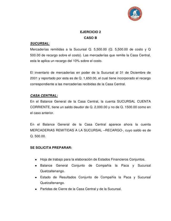 Caso B Ejercicio 2 Agencias Y Sucursales