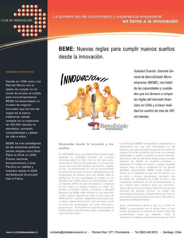 BEME: Nuevas reglas para cumplir nuevos sueños                               desde la innovación.  EMPRESA EXPOSITORA     ...