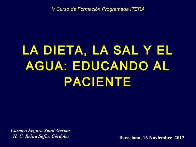 LA DIETA, LA SAL Y ELAGUA: EDUCANDO ALPACIENTEBarcelona, 16 Noviembre 2012Carmen Segura Saint-GeronsH. U. Reina Sofía. Cór...