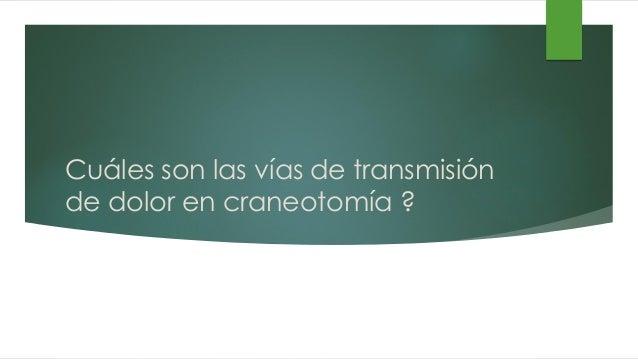 Cuáles son las vías de transmisión de dolor en craneotomía ?