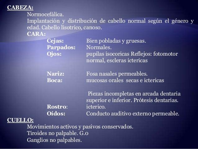 CABEZA: Normocefálica. Implantación y distribución de cabello normal según el género y edad. Cabello lisotrico, canoso. CA...
