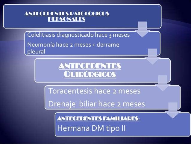 ANTECEDENTES PATOLÓGICOS PERSONALES Colelitiasis diagnosticado hace 3 meses Neumonía hace 2 meses + derrame pleural ANTECE...