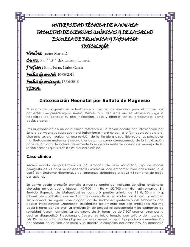 UNIVERSIDAD TÉCNICA DE MACHALA FACULTAD DE CIENCIAS QUÍMICAS Y DE LA SALUD ESCUELA DE BIQUIMICA Y FARMACIA TOXICOLOGÍA  No...