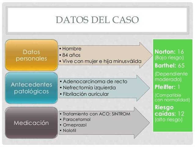 DATOS DEL CASO •Hombre •84 años •Vive con mujer e hija minusválida Datos personales •Adenocarcinoma de recto •Nefrectomía ...
