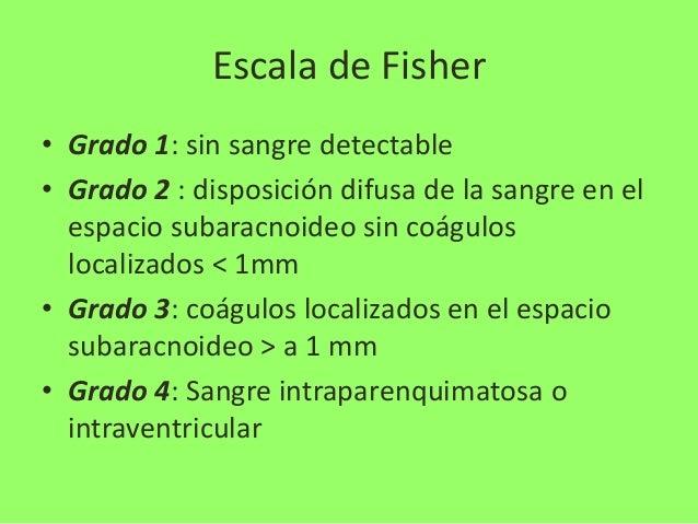 Escala de Fisher • Grado 1: sin sangre detectable • Grado 2 : disposición difusa de la sangre en el espacio subaracnoideo ...