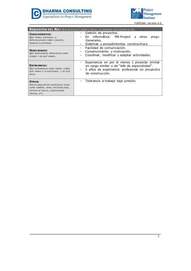 FGPR260- Versión 4.0REQUISITOS DEL ROL: QUÉ REQUISITOS DEBEN CUMPLIR LAS PERSONAS QUE ASUMAN EL ROL.CONOCIMIENTOS:QUÉ TEMA...