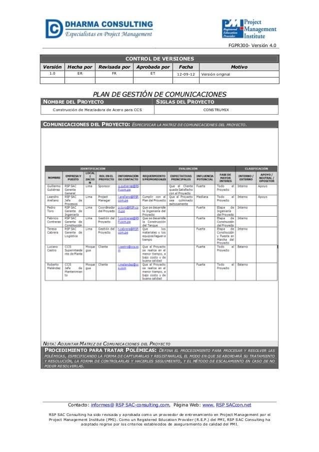 FGPR300- Versión 4.0Contacto: informes@ RSP SAC-consulting.com, Página Web: www. RSP SACcon.netRSP SAC Consulting ha sido ...