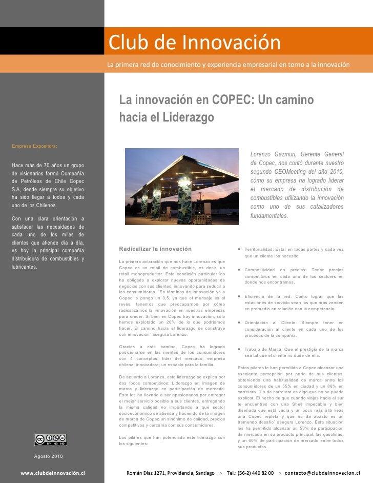 La innovación en COPEC: Un camino                                  hacia el LiderazgoEmpresa Expositora:                  ...