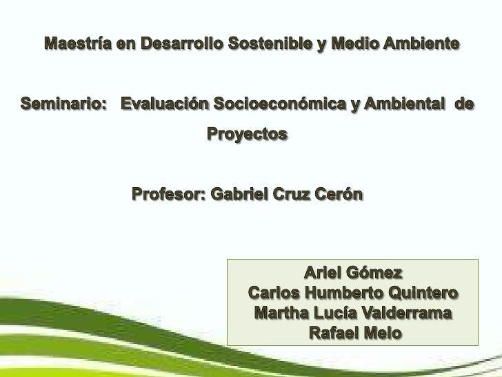 Maestría en Desarrollo Sostenible y Medio Ambiente<br />Seminario:   EvaluaciónSocioeconómica y Ambiental  de Proyectos...
