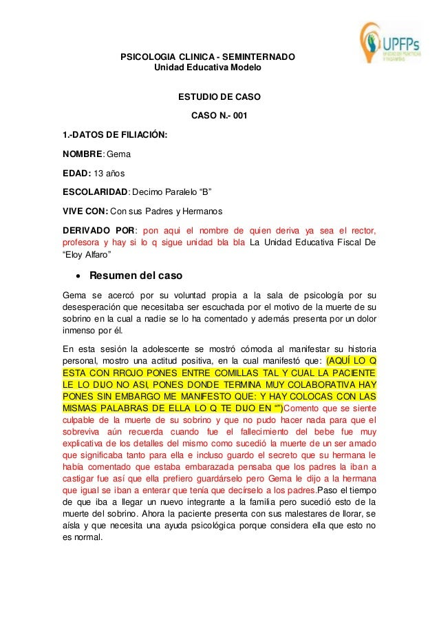 CASO CLINICO DE PSICOLOGIA CLINICA