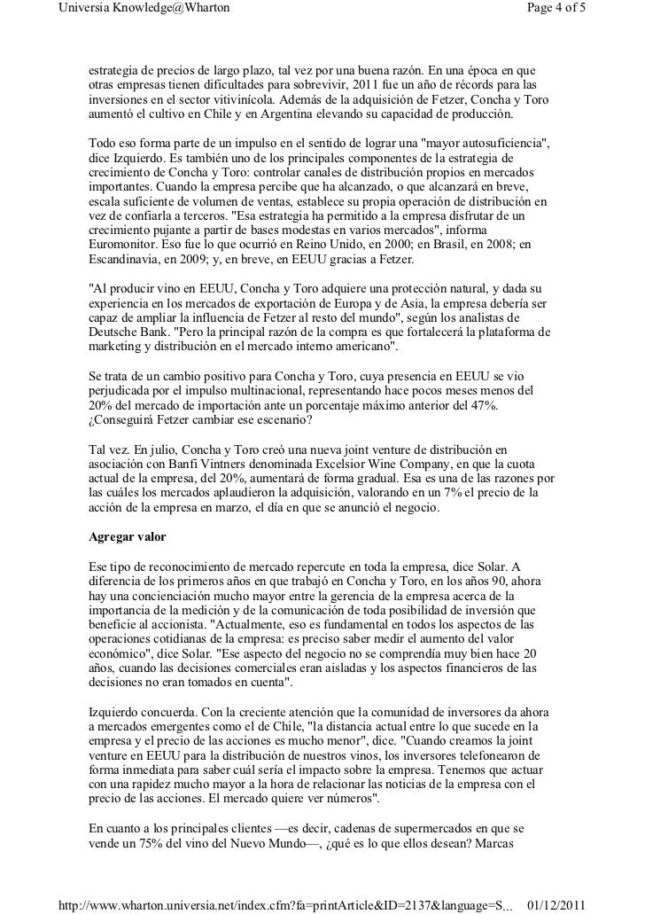 caso concha y toro harvard Caso aqualisa harvard business school registraba un crecimiento del 5 al 10% en un mercado maduro c concesión al comercio y distribución (estrategias competitivas de las marcas más.