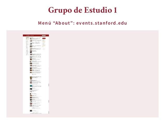"""Menú """"About"""": events.stanford.edu Grupo de Estudio 1 ..."""