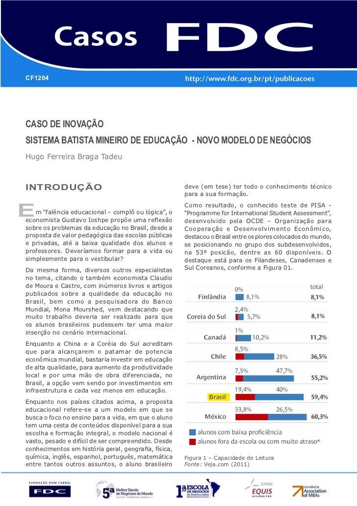 CF1204CASO DE INOVAÇÃOSISTEMA BATISTA MINEIRO DE EDUCAÇÃO - NOVO MODELO DE NEGÓCIOSHugo Ferreira Braga TadeuINTRODUÇÃO    ...