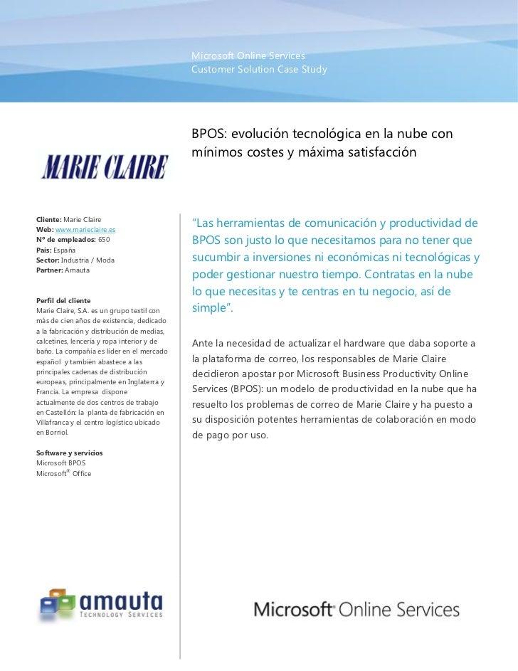 Microsoft Business Productivity Online Services                                             Caso de éxito: Marie Claire   ...