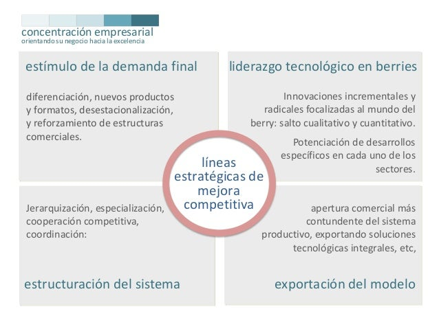 concentración empresarial orientando su negocio hacia la excelencia  estímulo de la demanda final  Innovaciones incrementa...