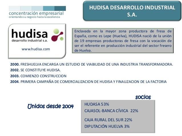 concentración empresarial orientando su negocio hacia la excelencia  www.hudisa.com  HUDISA DESARROLLO INDUSTRIAL S.A. Enc...