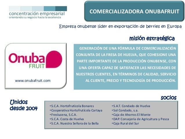 concentración empresarial  COMERCIALIZADORA ONUBAFRUIT  orientando su negocio hacia la excelencia  Empresa onubense líder ...