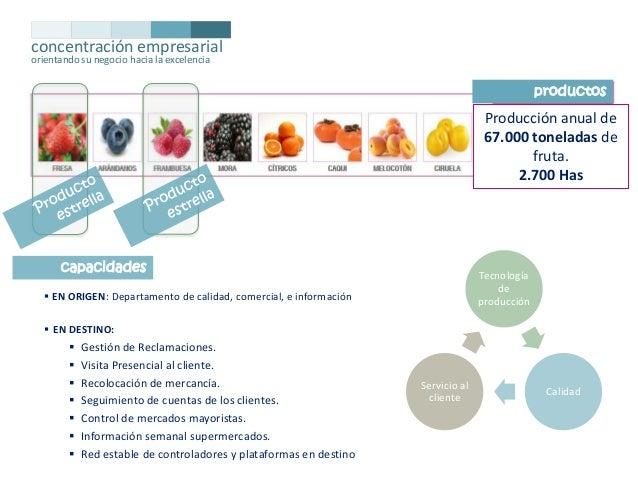 concentración empresarial orientando su negocio hacia la excelencia  productos  Producción anual de 67.000 toneladas de fr...
