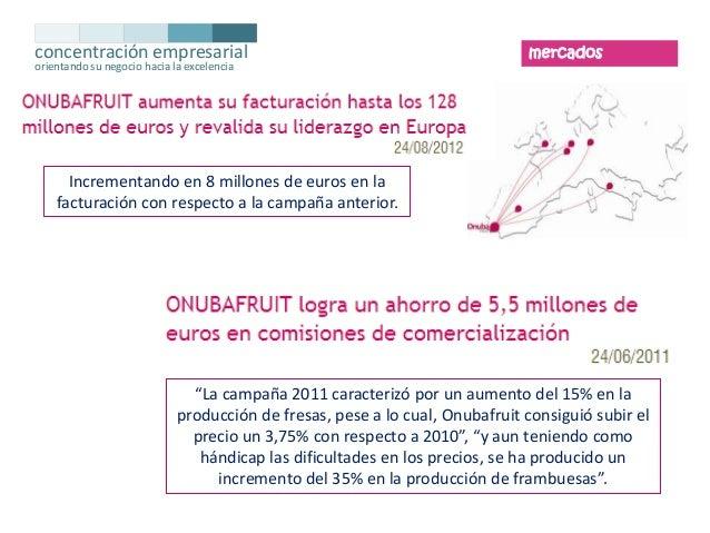 concentración empresarial orientando su negocio hacia la excelencia  mercados  Incrementando en 8 millones de euros en la ...