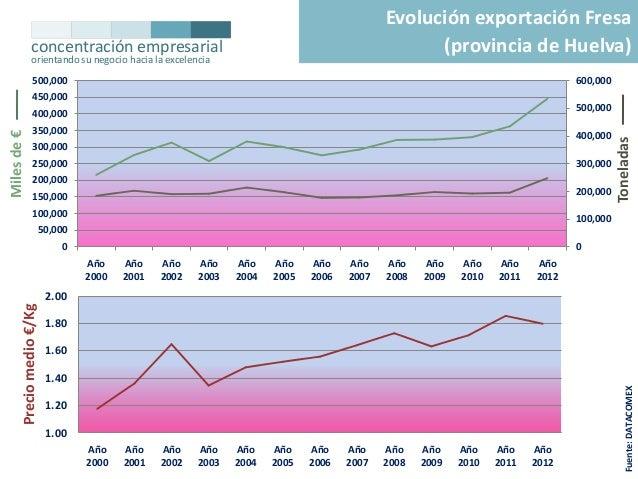 Evolución exportación Fresa (provincia de Huelva)  concentración empresarial orientando su negocio hacia la excelencia 500...